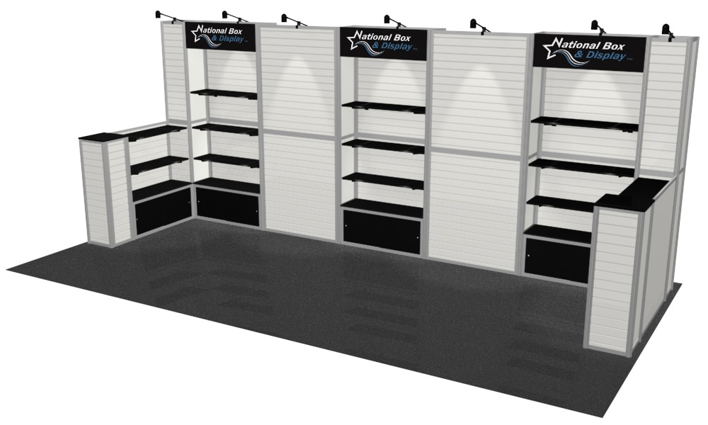 Trade Show Booth With Shelves : Slatwall with shelving and half walls infinity exhibits